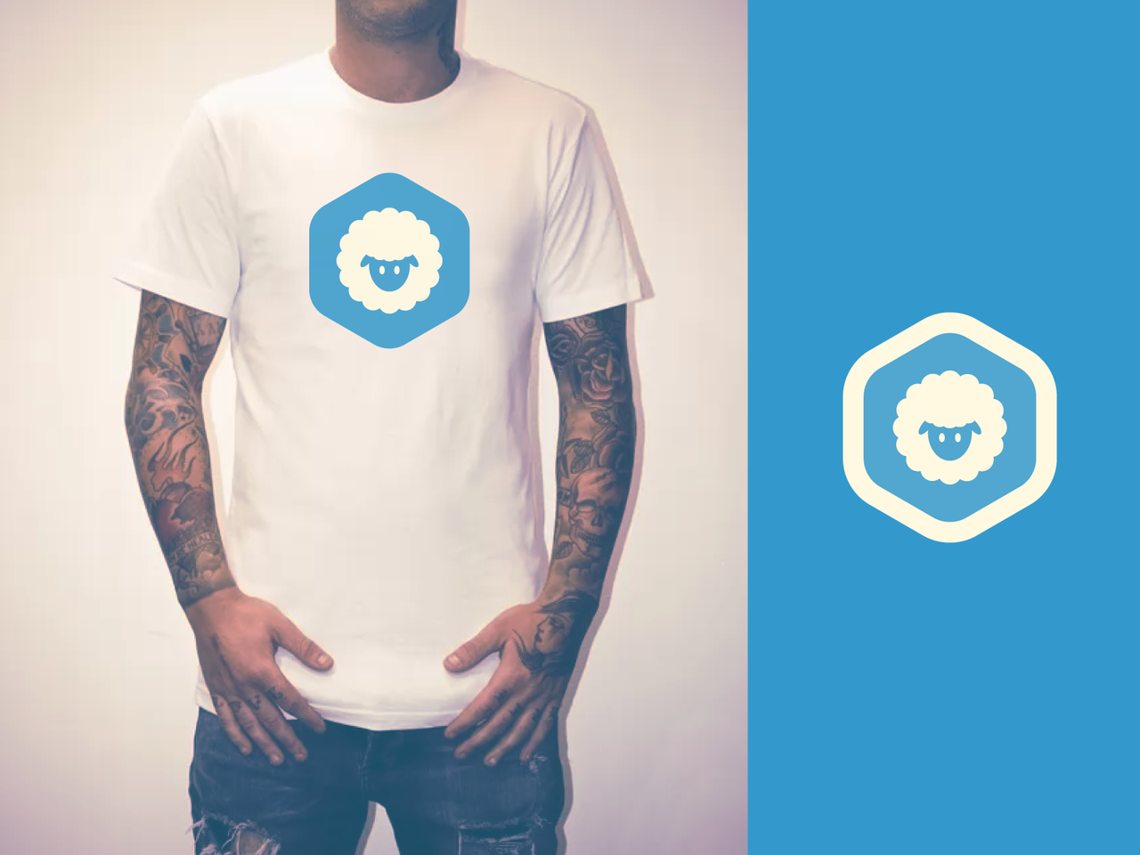 White sheep in hexagon on a T-shirt
