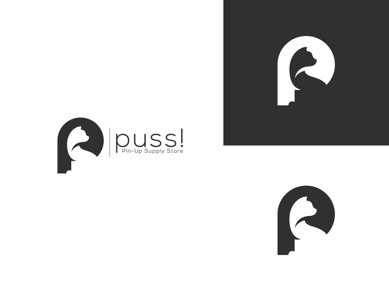 Cat logo design using negative space