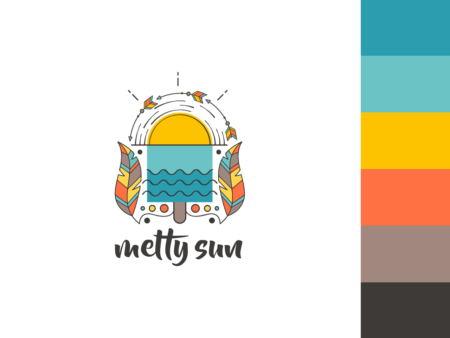 Ice cream sun water beach logo