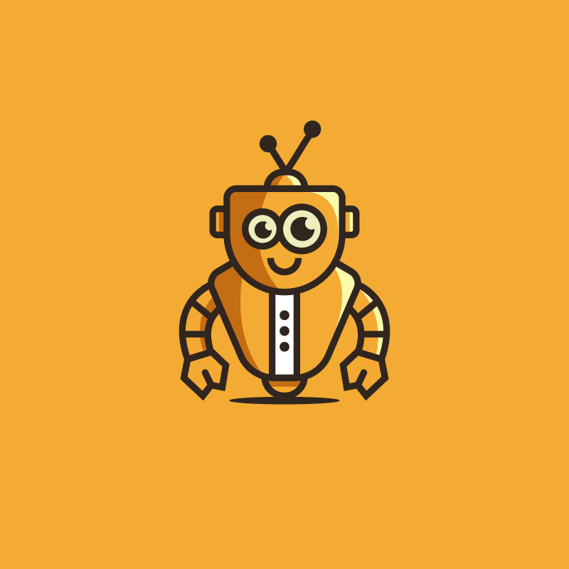 yellow robot flat logo design