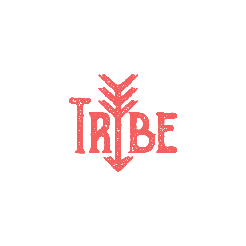 Tribe red typographic logo design