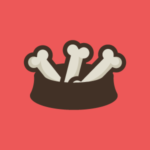 dog bowl with bones logo design