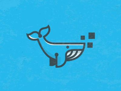 blue whale flat logo design