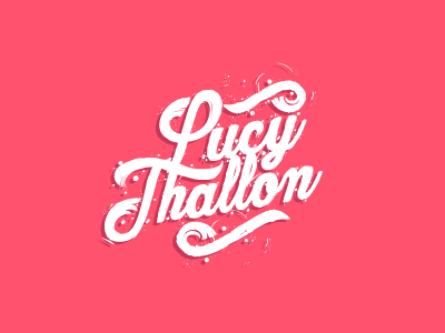 typographic logo design pink and white