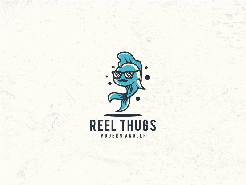 cool fish with sunglasses reel thugs angler logo design