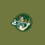 Lumberjack axe on shoulder logo design