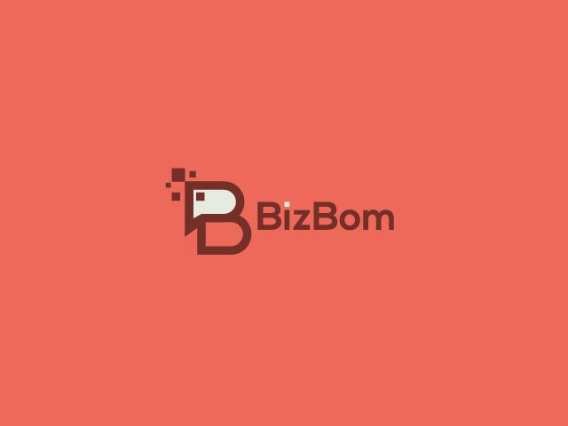 B letter logo design biz bom
