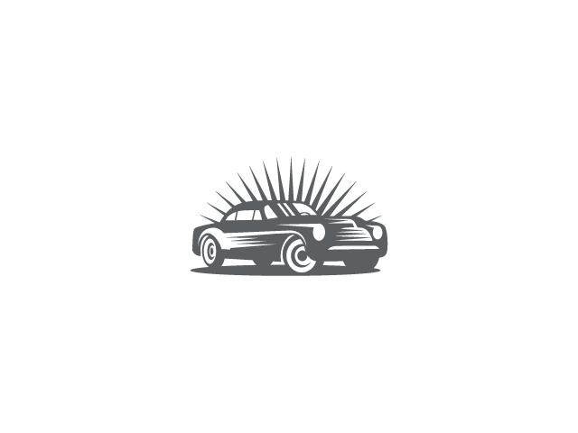 Vintage grey car logo design