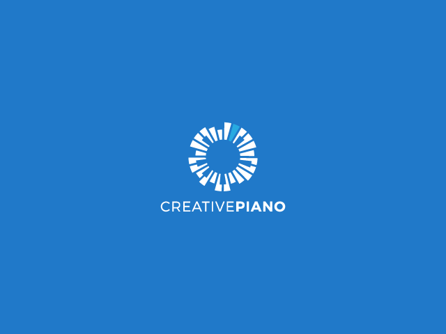 piano keys in a circle logo design