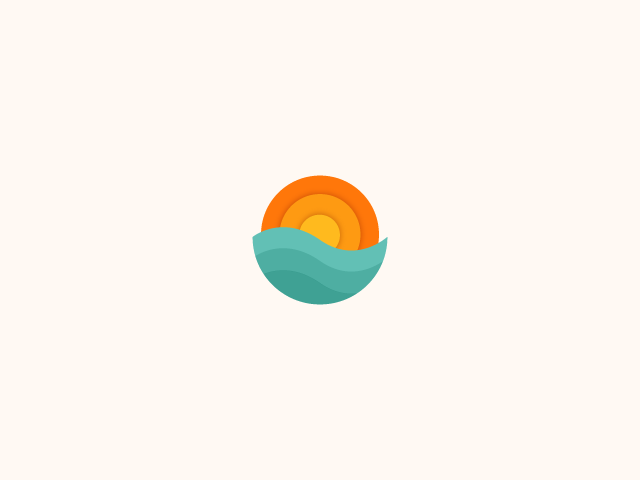 wave and sun logo design