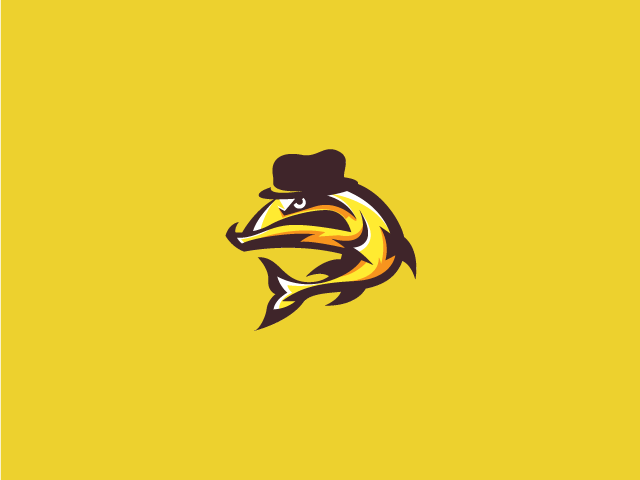 yellow gentleman fish logo design angry fish with top hat