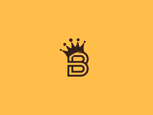 b letter with a crown on a yellow background