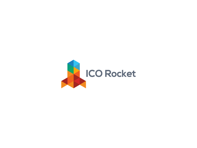 colorful rocket logo design poly