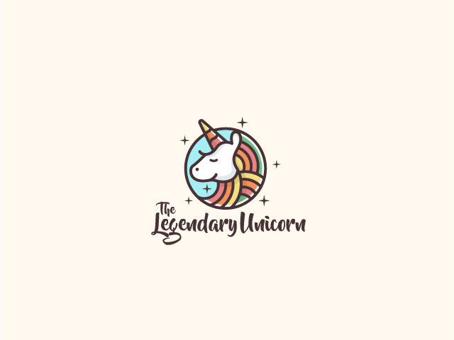 cute unicorn logo design
