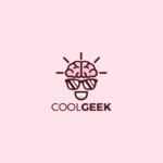 coolgeek character logo design brain glasses