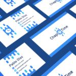 blue business card design chapi time