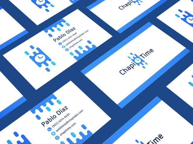blue business card design chapi time