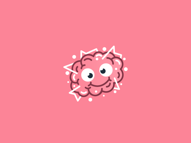 Crazy Brain pink smiling brain