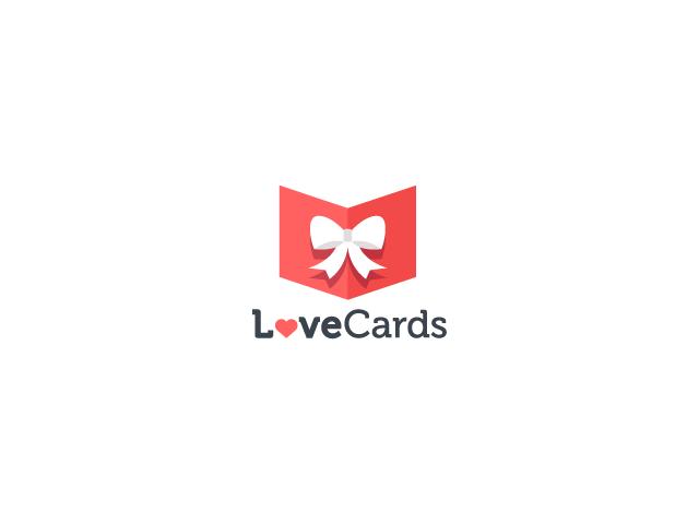 Love Cards logo design white bow