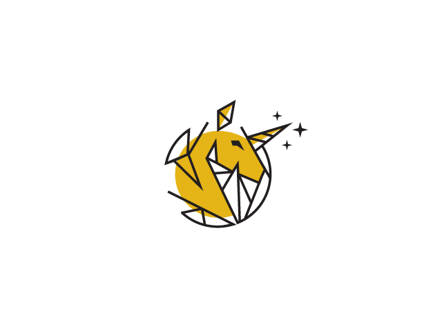unicorn yellow horse poly logo
