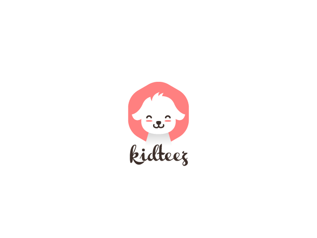 cute white puppy logo design