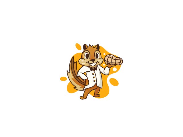 Squirrel mascot in tuxedo holding a nut