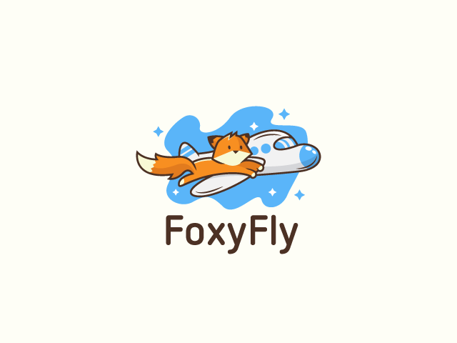foxy fly fox holding airplane wing