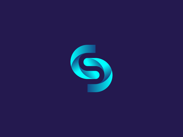blue modern S logo design