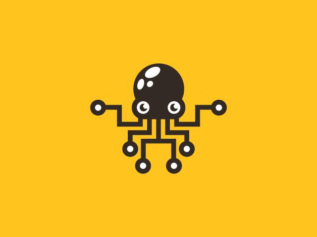 tech octopus logo design