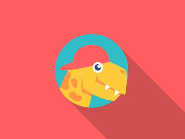 smiling dinosaur head with hat logo design