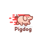 running pig dog logo design