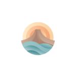 Volcano, sea and sun logo design