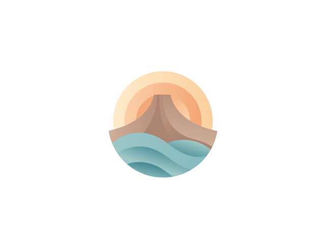 Volcano, sea and sun logo design