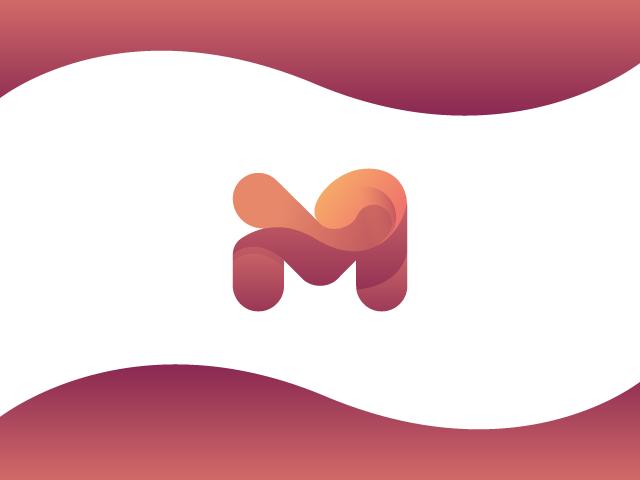 M fluid gradient logo design