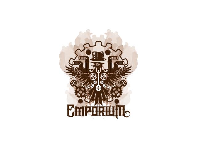 steampunk raven logo design