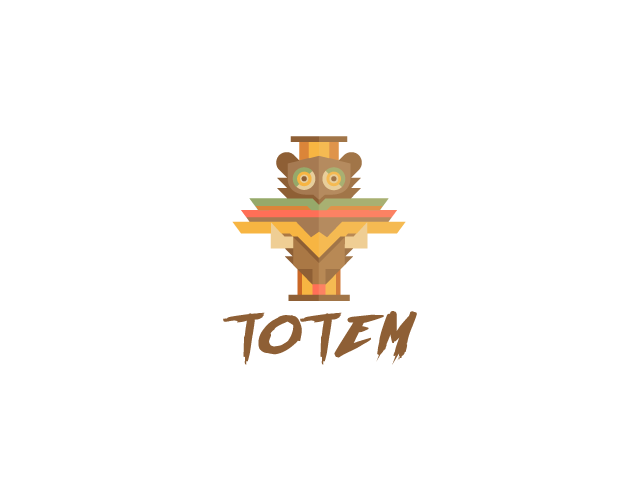 Totem pole logo bear