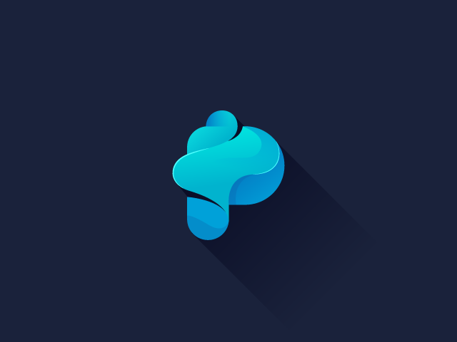 P letter logo design blue cloud P