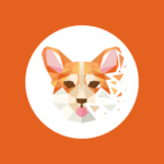 Polygon dog logo design corgi