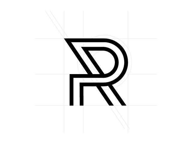 R Letter typographic Logo design