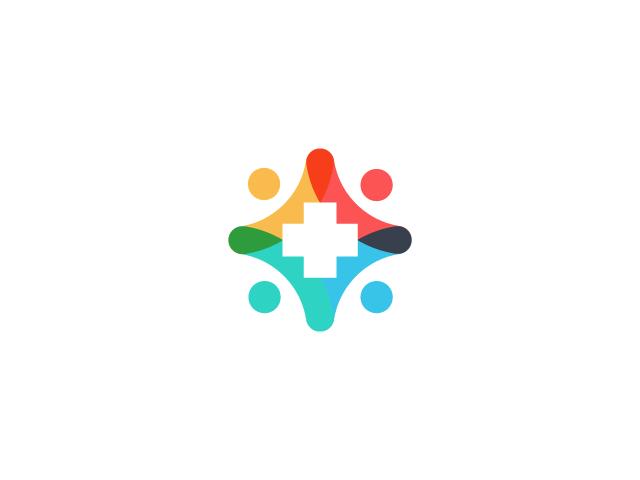 Colorful health care logo design white cross