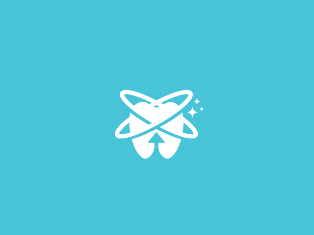 White tooth logo with orbits and up arrow