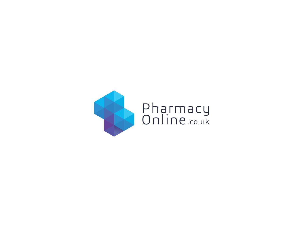 Geometric blue gradient pharmacy logo design
