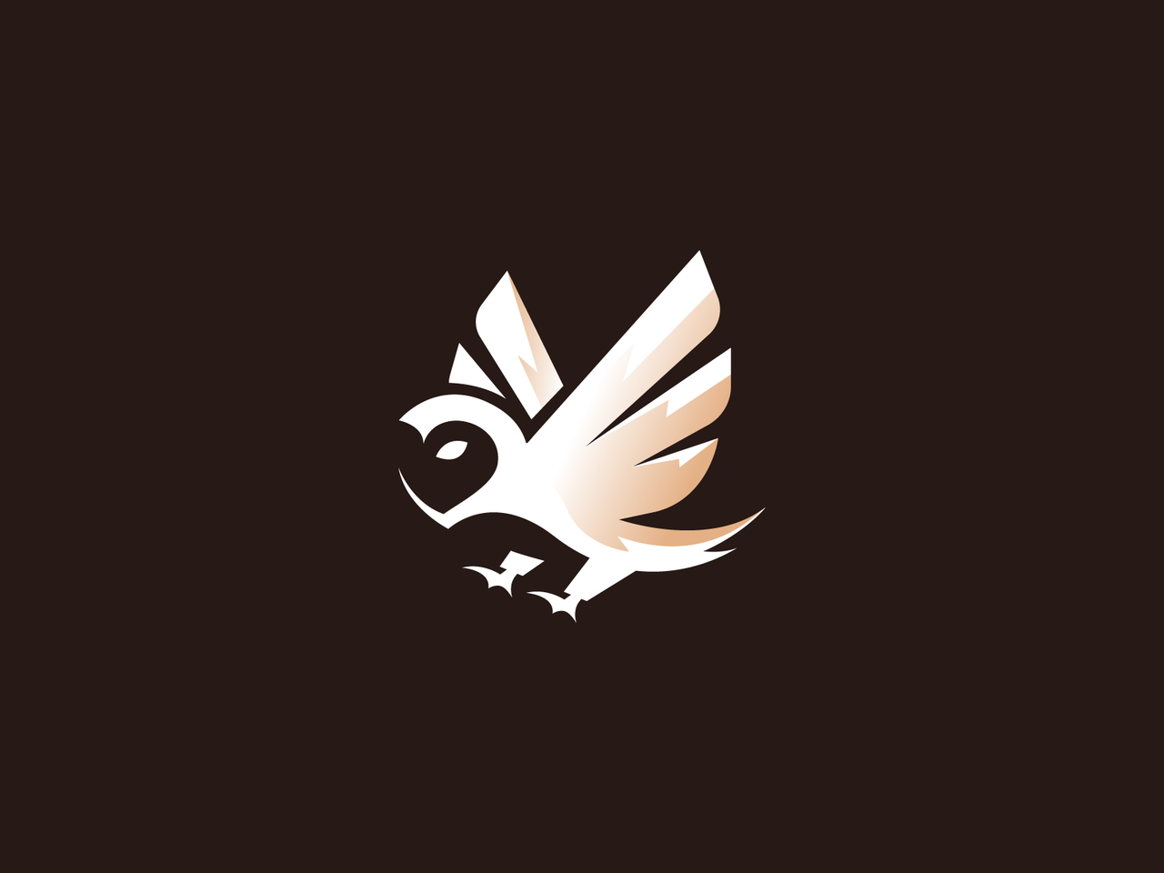Owl logo with spread wings