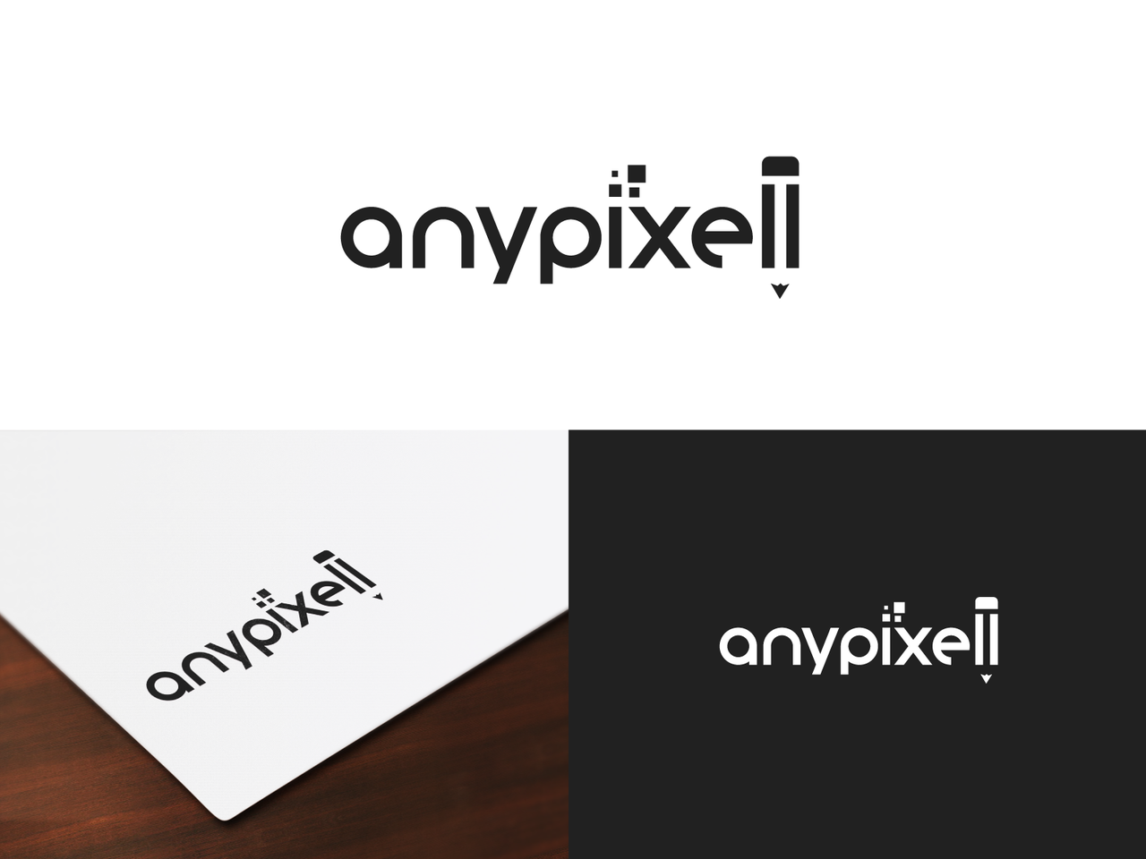 anypixell typography black logo pencil