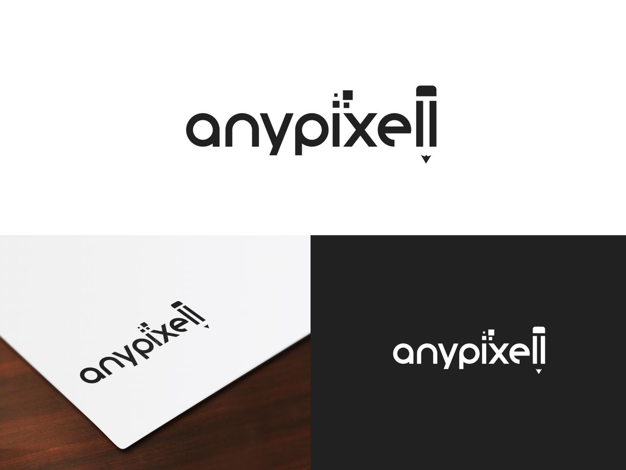 anypixell typography black logo pencil