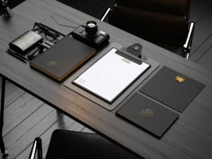premium black stationery mockup