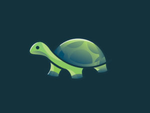creative green turtle gradient logo