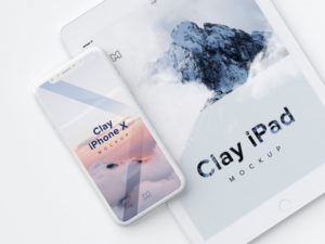 clay iphone x and ipad mockup