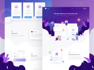 Etherium transaction site web design purple