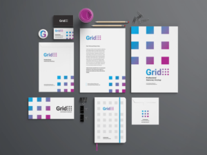 grid branding stationery mockup